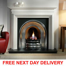 GALLERY ASQUITH LIMESTONE FIREPLACE SUITE WITH CROWN CAST IRON ARCH WITH GAS