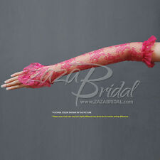 Flower Pattern Fingerless Lace Gloves with Elastic Ruffle 12BL-Various Colors