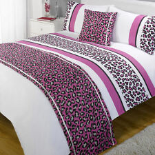 Leopard Pink Purple White Patterned Bed in a  Bag Duvet Quilt Cover Bedding Set