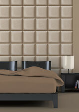 3D Square panel Effect Material Feel Beige Brown Chocolate Coffee Paste the Wall