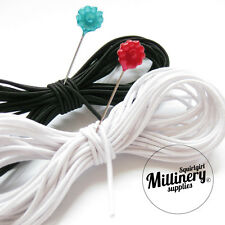 BLACK OR WHITE Round 1.5mm Millinery Hat Elastic for Fascinators, Hats