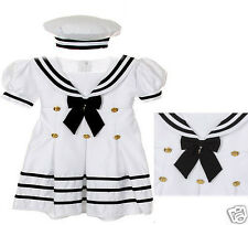 BABY GIRL & TODDLER SAILOR FORMAL OUTFITS DRESS WHITE  S,M,L,XL,2T,3T,4T(0M-4T)