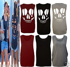 NEW WOMENS LADIES  SLEEVELESS LONG CUT OUT BACK SKULL VEST T SHIRT WOMENS TOP