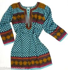 PRINTED JAQUARD CREPE KURTI/TUNIC INDIA BLOUSE ETHNIC TOP WITH SLEEVES AS SHOWN