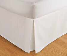 """TAILORED BED SKIRT. DUST RUFFLE, PLEATED, 14"""" DROP, BEIGE WHITE, FULL QUEEN KING"""