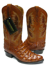 MEN'S COGNAC BROWN ALLIGATOR CROCODILE BACK CUT COWBOY BOOTS WESTERN EXOTIC
