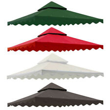 10x10' Green/Ivory/Red Gazebo Top Replacement 2 Tier Patio Sunshade Canopy Cover