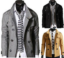 Collection of Men's Casual SlimFitted Jacket Double PEA Wool Half Trench Coat