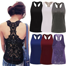 Sexy Ladies Lace T Shirt Hollow-out Vest Camisole Pierced Cami Tank Crochet Tops