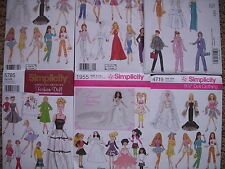 "Sewing Patterns 11.5"" doll clothes Gowns Dresses Outfits"