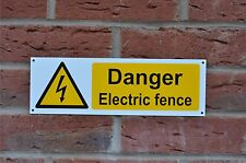 Danger Electric Fence Hazard Sign Or Sticker 300mm x 100mm Warning Security