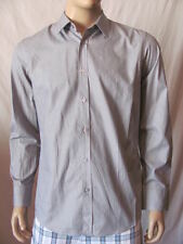New HUGO BOSS Mens Grey Black Casual Button Down Lucas Woven Dress Shirt $145