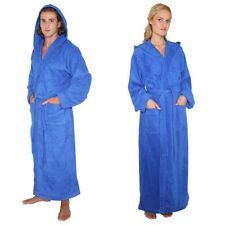 New Mens Womens Turkish Cotton Terry Light Weight Hooded Long Bathrobe RoyalBlue