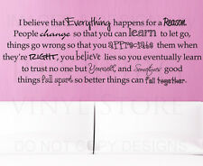 Wall Quote Decal Sticker Everything Happens for a Reason Marilyn Monroe J74