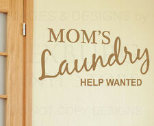 Wall Decal Quote Vinyl Sticker Art Lettering Help Wanted Mom's Laundry Room LA02