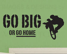 Wall Decal Sticker Quote Vinyl Art Large Go Big or Go Home Boy's Sports Room S21