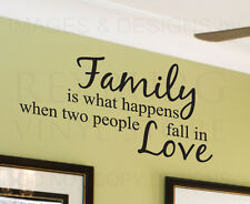Wall Decal Quote Sticker Vinyl Art Adhesive Family is What Happens When Love F05