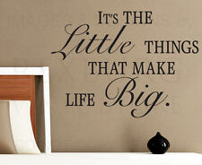 Wall Sticker Decal Quote Vinyl Art Lettering Little Things Make Life Big IN82