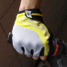 Cycling Bike Bicycle Breathable Shockproof GEL Palm Pad Half Finger Glove Yellow