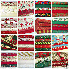 christmas fat quarter bundles craft fabric 100 % cotton red green ivory