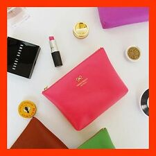 Lovely Color Faux Leather Make-Up Bag Case Cosmetics Pouch - Ribbon