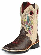 ARIAT Girl's Showbaby Rocker Tattoo Brown Square Toe Leather Boots 10007987 NIB