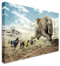 Running Elephant Vs Dog Race Canvas Prints Wall Art Picture Large Any Size
