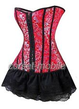 Red Victorian CORSET & Black Lace Skirt Costume  S-6XL  CM_A07