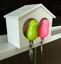 DUO Sparrow Bird House Key Ring Chain / Wall Arts Key Hook Holders Twin Whistle