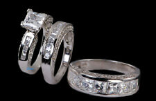 His And Hers Bridal Wedding Engagement Ring Set .925 Sterling Silver 4-13