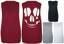 New Womens Cut Out Open Back Skull Ladies Sleeveless T-Shirt Vest Top Size 8-14