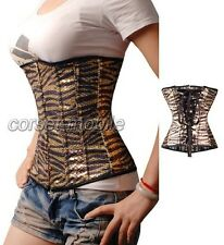 Zebra Sequin Underbust CORSET Size S-6XL  With Thong Free Shipping Zebra CM_A014