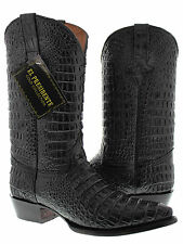 crocodile alligator belly cut mens new western cowboy boots full black j toe