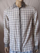 New GUESS Mens Grey Beige Plaid Casual Button Down L/S Claxton Shirt Flannel $79