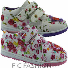 GIRLS INFANT CASUAL/PARTY VELCRO  GLITTER SEQUENCE CANVA SHOES