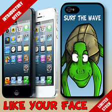 Funny animal cartoon Surfing Sea turtle & saying phone case cover for Iphone 5