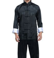 Black Red Blue New Chinese Men's Silk Kung Fu Suit Pajamas SZ: M L XL 2XL 3XL