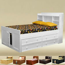 Bead Board Full Bookcase Captain Bed / Drawers in White, Black, Pecan and Walnut
