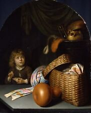 Still Life With Boy Blowing Soap Bubbles Gerard Dou  Vintage Art Poster/ Photo