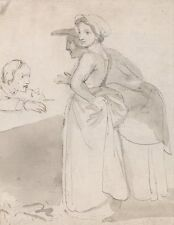Two Women Talking To Man At Counter John Flaxman Quality Art Photo Poster Gift