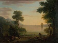 Classical Landscape With Figures Animals Sunset John Wootton 1754-Art Poster /