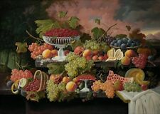 Two Tiered Still Life With Fruit Sunset Landscape Severin Roesen 1867 Art Print