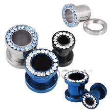 Pair Jeweled Titanium Surgical Steel CZ Rim Screw Fit Ear Plugs Tunnels Gauges