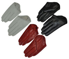 New Women Fashion Sexy 5 Fingers Half Palm Genuine Leather Gloves 3 colors