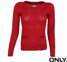 ONLY DAMEN OBERTEIL TOP, STRICK YOUNG ORGANIC BOATNECK KNIT PULLOVER XS, S, M, L