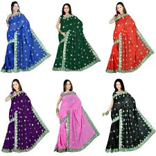 NEW Women Party Sequin Embroidery Saree Sari Drape Bellydance Fabric - FREE SHIP