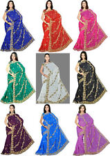 NW Bollywood Partywear Sequin Embroidery Saree Sari Bellydance Costume Fabric KR