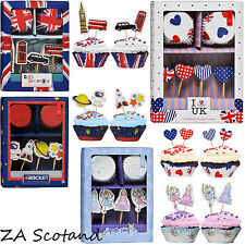 CUPCAKE CASES AND TOPPERS SET FAIRY, ROCKET, COOL BRITANNIA, I LOVE UK FULL SET