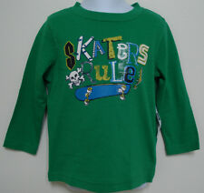 "BABY GAP BOYS LONG SLEEVE GREEN ""SKATERS RULE"" T SHIRT SIZE 18-24MOS-4T NWT"