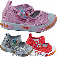 GIRLS INFANT TODDLER CANVAS CASUAL GLITTOR PARTY WEDDING SHOES SIZE UK 3-11